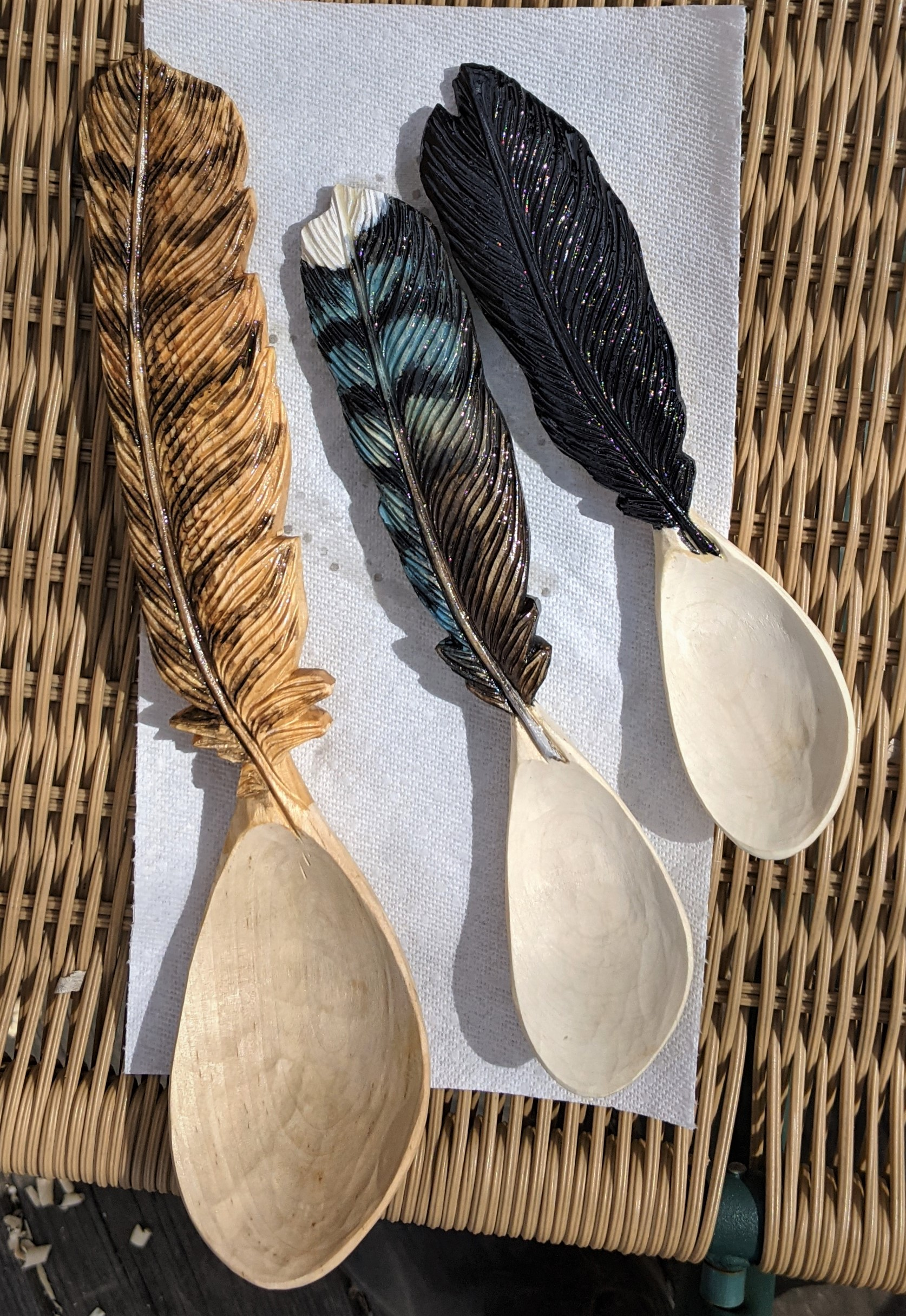 Allowing the Paint to Dry on Wooden Spoons