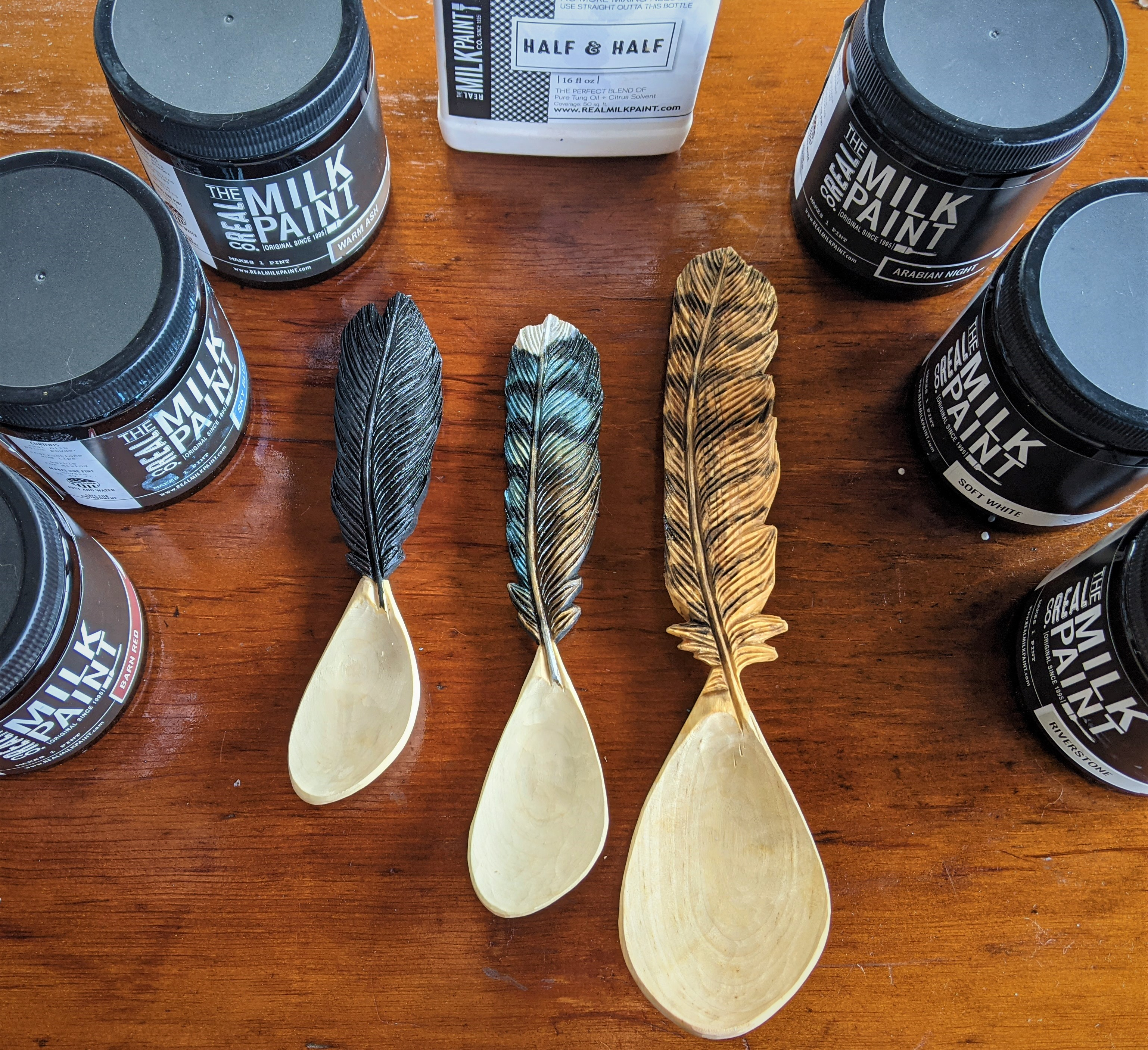 Dried Wooden Spoons with Milk Paint